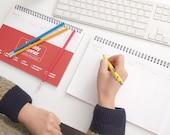 Weekly Planner Notebook [ Red, Blue, Yellow, Black ] / Weekly Scheduler / 101007776