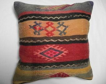 "kilim, pillows, kilim pillow, coverscushion,Handwoven Wool Turkish Kilim Pillow Cover,16""x16"",Decorative Kilim Pillow,Kilim Embroidery"