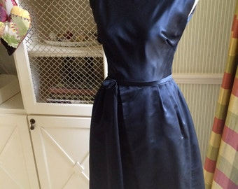 Vintage 60s Couture  Midnight Blue  Harvey Berlin bomshell dress s