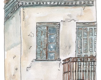 BALCONY - Greek Village House - Fine Art Giclee Print on Archival Paper - from Original Watercolour Painting