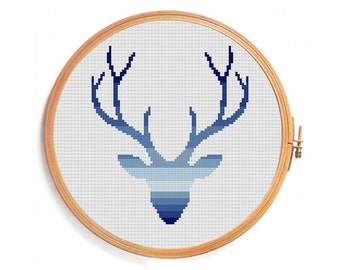 Deer cross stitch pattern - Ombre blue gradient horns geometric embroidery designs hunter Christmas Nativity xmas greetings happy new year