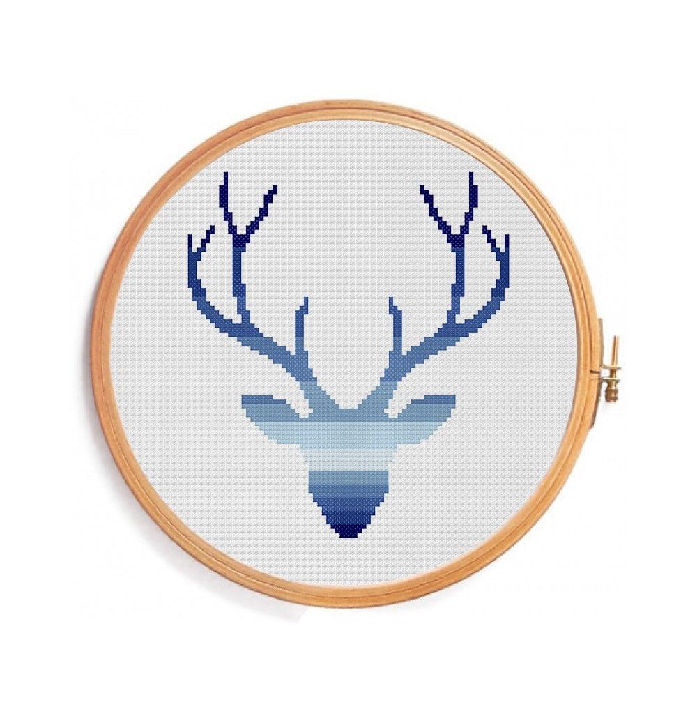 Deer cross stitch pattern ombre blue gradient horns