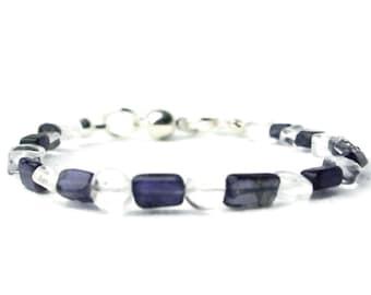 Blue white bracelet, blue bracelet, white bracelet, crystal bracelet, iolite bracelet