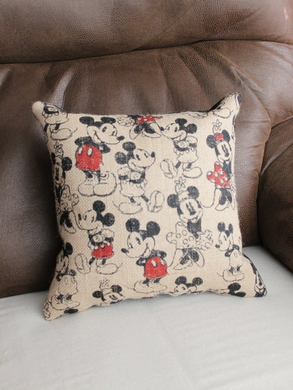 Mickey Amp Minnie Mouse Burlap Print Pillow With Black Suede