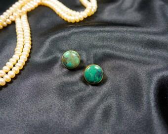 Round Shape Turquoise Gem Stone Stud Earrings