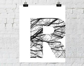 R Letter, R Monogram, Monogram, Black and White Letter, Tree Branch Decor, Instant Download, Printable Wall Art, ADOPTION FUNDRAISER