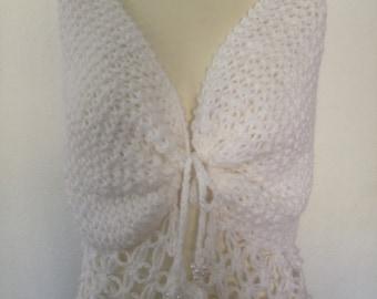 Hand Knit Wedding Shawl / Bride Bolero