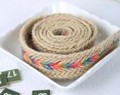 5 Yards, 2.5cm / 1 inch  Width, Colorful Woven Linen Burlap Bag Strap / Webbing