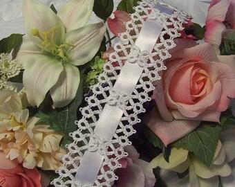 white lace garter, white bridal garter, white wedding garter, bridal lace garter, vintage inspired garter, heirloom garter, tatted garter