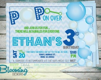 Bubble Bubble PoP Birthday Invitation - Birthday Party