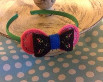 Arendelle Princess Motif Headband (removable bow)