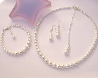 Pearl bridal jewelry set Sterling Silver Classic pearl wedding jewellery set white cream pearl necklace bracelet & earrings bridesmaid gift