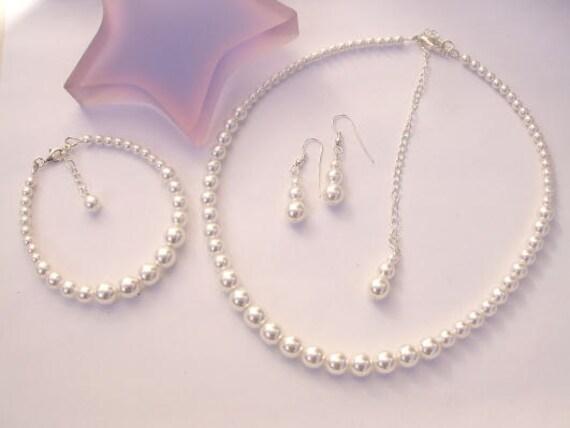 Brautschmuck armband perlen Perle Brautschmuck set klassische Sterlingsilber Perle