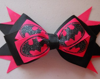 Batman Superhero Hot Pink Glitter Bow