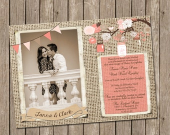 Coral and Pink Rustic Wedding Invitation over Burlap with Mason Jars and Flowers - printable 5x7