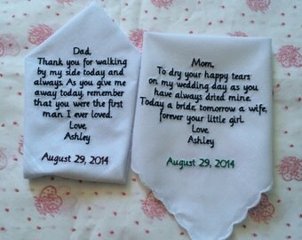 Set of Two 2 Personalized Handkerchiefs for Wedding memories
