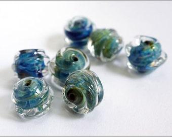 Wrapped silver glasslampwork beads / beading / handmade supplies / Blue Double Helix beads