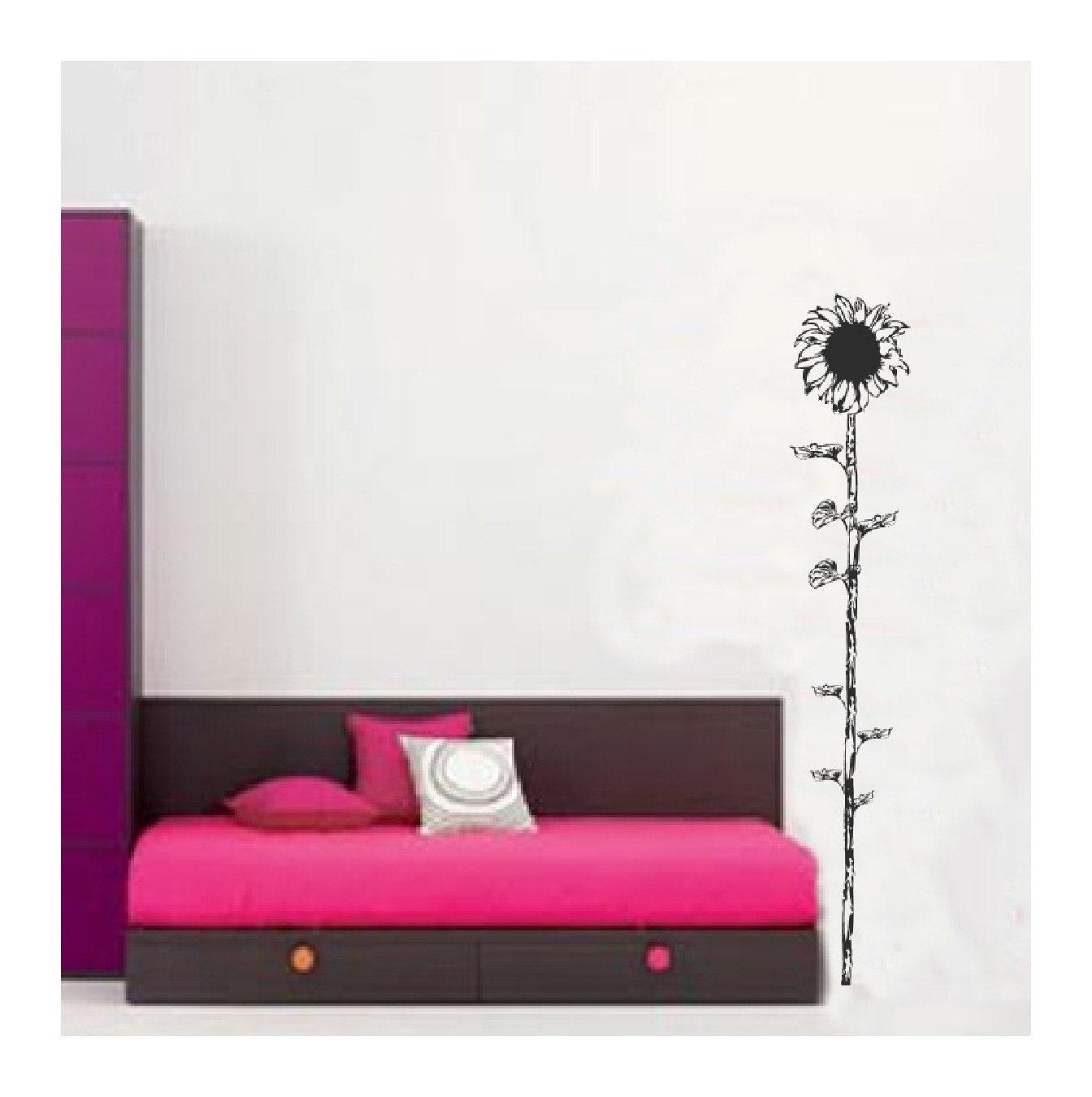 Sunflower wall decals sticker art room decor branch flower for Sunflower bedroom decor