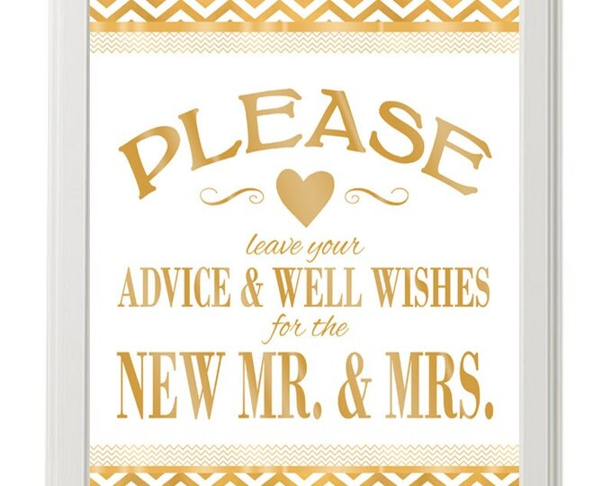 Advice and Well Wishes for the New Mr and Mrs - Printable-gold & white chevron wedding-Shining Chevron Collection -  instant download - DIY