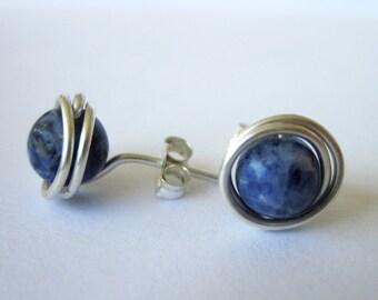 Sodalite Post Earrings in Argentium Silver