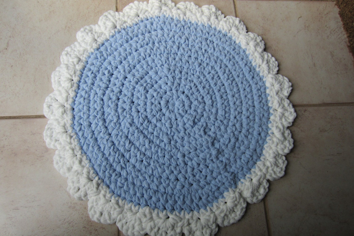 crocheted round rug rag rug style washable throw rug soft blue and white