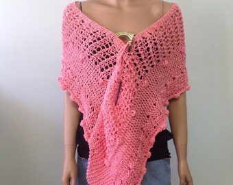 Hand Knit Lace Peach Shawl Scarf Designer Fashion Feminen Flower BudsvWedding Church Eve