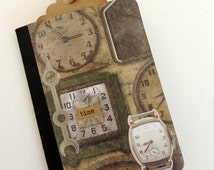 Steampunk Notebook, Altered Mini Composition Book, Masculine Gift, Steampunk Gift