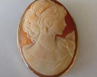Vintage Cameo 14K Gold Pin Pendant Brooch 10g