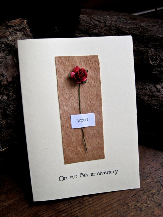 Gifts For Fifth Wedding Anniversary: 5th Wedding Anniversary Card WOOD Traditional Gift For 5