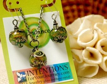 ABUNDANCE - Handmade Inspirational Jewelry - Glass Lampwork Pendant Necklace and Earrings