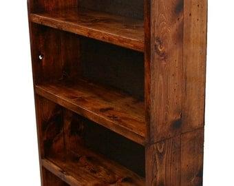 Beautiful Rustic Custom Bookcase 2 Piece Multi-Purpose Shelving Unit Book Shelf Lovely Stain and Finish