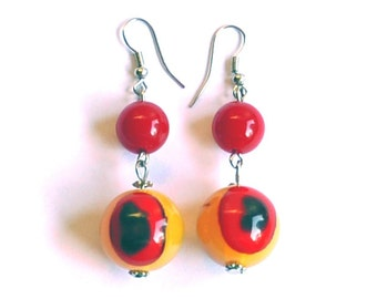 Bold Chunky Vintage Earrings - Mustard & Red Beaded Earrings, Dangles