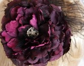 Purple Rose Fascinator / Rose Hair Clip with Feathers and Rhinestones / Purple Burlesque Fascinator with Black Ostrich Feathers