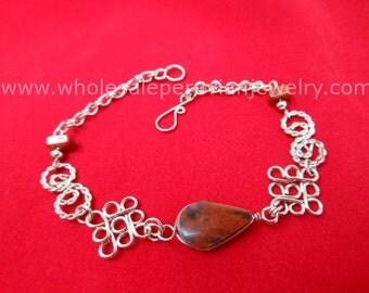 Brown Tiger's Eye Teardrop Alpaca Silver Diamonds Bracelet Peruvian Jewelry - Handmade in Peru
