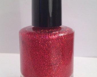 Halo in Red - Handmade Custom Nail Polish / Glitter Polish