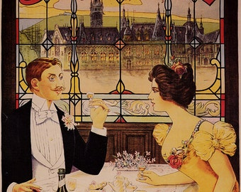 Vintage Benedictine L'Abaye de Fecamp Liquor Ad Giclee Art Print Stretched Canvas Option