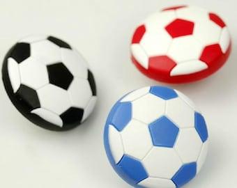 Kids Dresser Drawer Knobs Pulls Handles Football Soccer Black Blue White / Baby Boys Childrens Cabinet Knob Pull Handle Hardware Sports