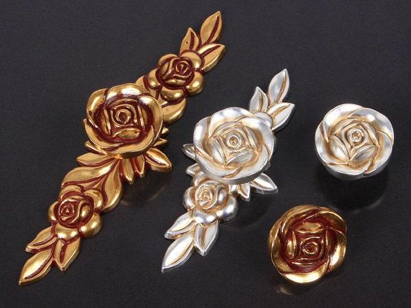 Dresser Knobs Drawer Knob Pulls Pull Handles Rose Flower Gold