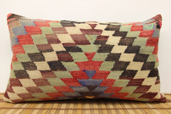 Long Decorative Lumbar Pillow : Items similar to 14x24 LONG Kilim Lumbar Pillows, Organic Turkish Kilim Pillows, Cream Dyed ...