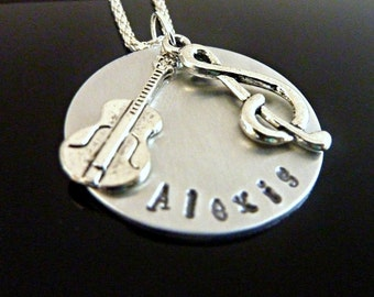 Guitar Necklace Hand stamped musician music note treble clef necklace Personalized jewelry