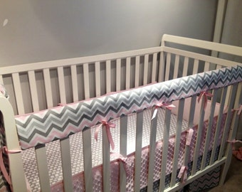 Crib Rail Teething Guard -Pink Grey & White Chevron