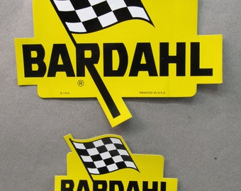 4 BARDAHL Checkered Flag stickers - 2 different.  racing group