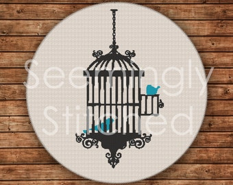 Counted Cross Stitch Pattern - Birdcage - Instant Digital Download PDF