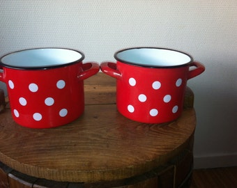 French vintage red enamel pots