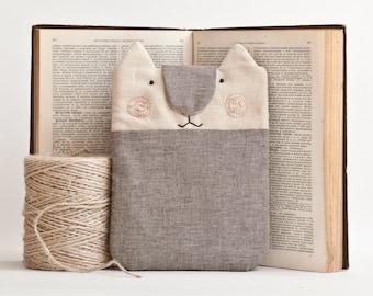 Gray iPad mini Case, iPad Mini Cover, iPad mini sleeve, Cat kindle sleeve, Girlfriend Gift, kindle paperwhite cover, Childrens Gift
