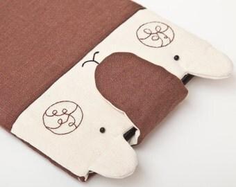 Brown ipad mini 2 case, Bear Fabric iPad  mini sleeve, cases for iPad, Bear kindle paperwhite cover, kindle case, Brown kindle fire case