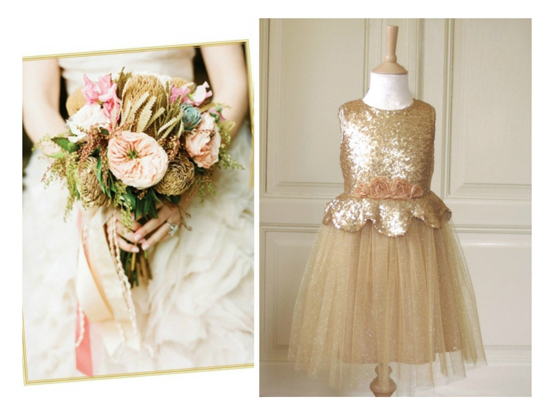 Vintage Matte gold Flower girl Dress Wedding Bridesmaid