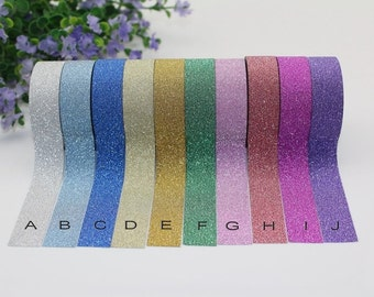 SALE--1 roll Glitter  Washi Tape -- Japanese Washi Tape -Sparkle tape-- 15mm x 5M--6 colors to choose