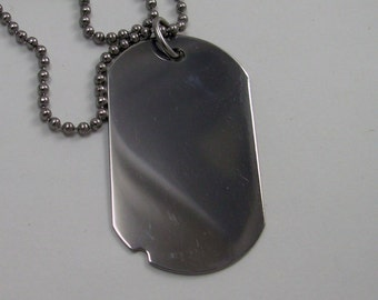 Dog Tag Polished Stainless Steel- free engraving
