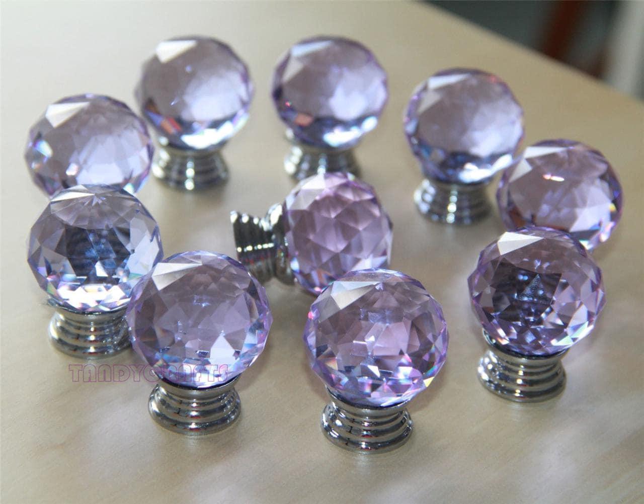 8 Pcs Purple Crystal Knobs Dresser Drawer Knobs Pulls
